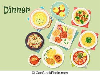 cena, frutta, piatti, dessert, esotico, icona, menu
