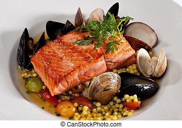 cena, frutti mare, salmone, apparecchiato