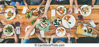 cena, -, gente, alimento, comida, grupo, teniendo, ocio, tabla, concepto