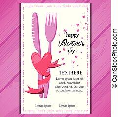 cena, giorno valentines, scheda, invito