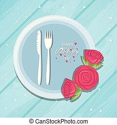 cena, giorno valentines, scheda
