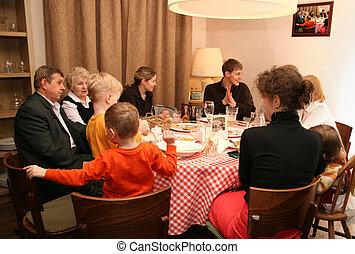 cena, grande, famiglia
