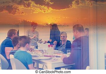 cena, iftar, pregare, mubarak, prima, famiglia, eid, halal, ...