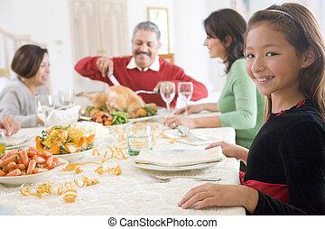 cena, juntos, navidad de la familia