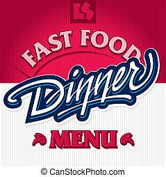 cena, mano, iscrizione, (vector)