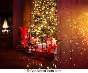 cena natal, com, árvore, e, fogo, em, fundo