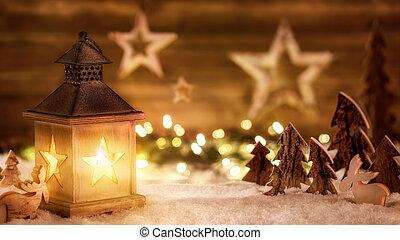 cena natal, em, morno, lanterna, luz