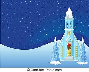 cena natal, fundo, inverno