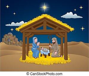 cena natividade, caricatura, natal