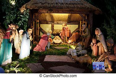 cena natividade christmas, com, três homens sábios, apresentando, presentes, para, bebê jesus, mary & joseph
