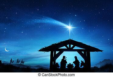 cena natividade, com, a, santissimo, família, em, estável