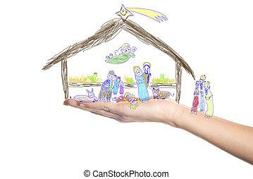 cena, natividade, criança, pequeno, desenhado, natal