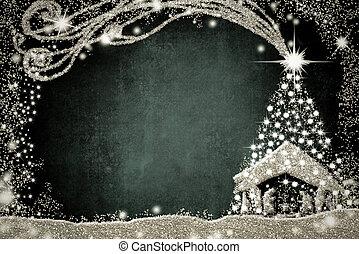cena natividade, e, árvore natal, card.