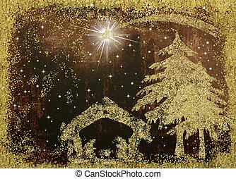 cena natividade, natal, card.