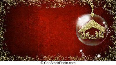 cena natividade, natal, fundos, cartões.