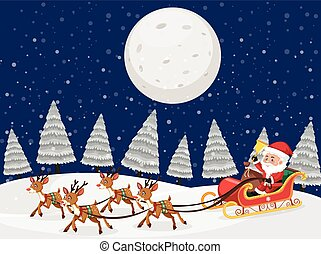 cena neve, renas, santa, noturna, sleigh
