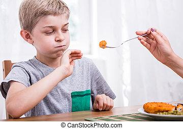 cena, niño, Se negar, comer