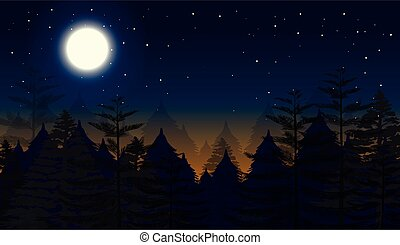 cena noite, fundo, floresta