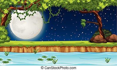 cena noite, lago, tempo