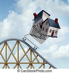 cena, padající, domů