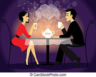 cena, par, confissão, amor, namorando