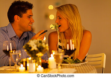 cena, pareja, romántico, joven