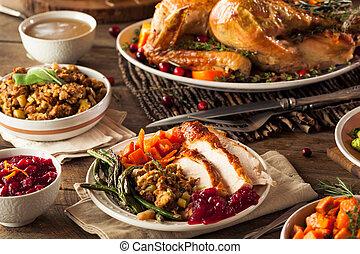 cena, pieno, ringraziamento, casalingo