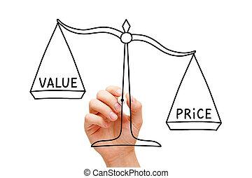 cena, pojęcie, tabela, wartość