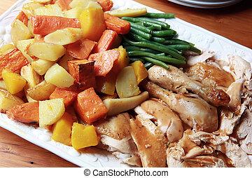 cena pollo, arrosto
