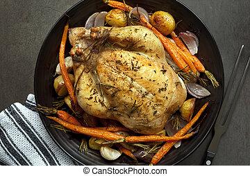 cena pollo, asado