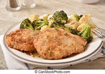 cena, pollo, piccata