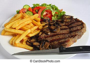 cena, ribeye, lama bistecca