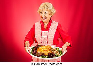 cena ringraziamento, con, nonna