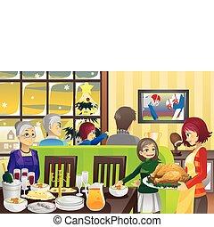 cena, ringraziamento, famiglia