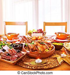 cena, ringraziamento, giorno