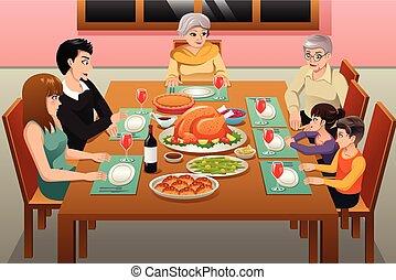cena, ringraziamento, illustrazione, famiglia