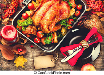 cena ringraziamento, tavola, servito, con, tacchino,...