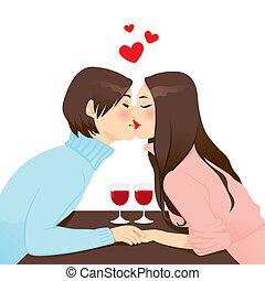 cena, romántico, beso