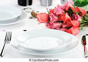 cena, romántico, dos