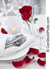 cena romantica, regolazione, con, petali rose