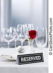cena romantica, regolazione, con, segno riservato