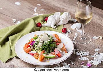 cena, romantico, vino