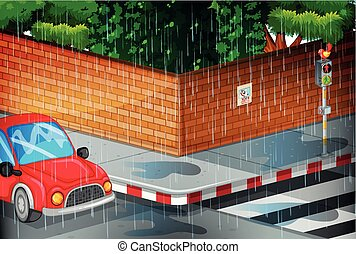 cena rua, chuva
