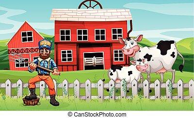 cena rural, agricultor