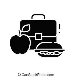 cena, símbolo, vector, signo., icono, negro, glyph, ilustración, escuela, plano, concepto