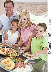 cena, servire, famiglia, madre
