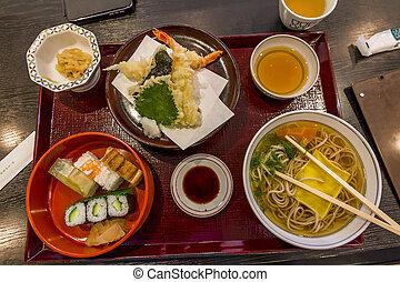 cena, set, giapponese