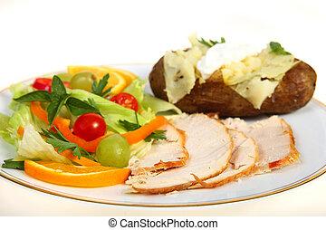 cena turchia, insalata, patata
