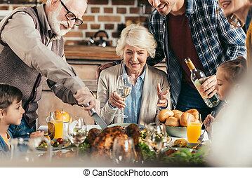 cena, vacanza, detenere, famiglia