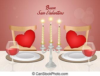 cena, valentines, romantico, giorno